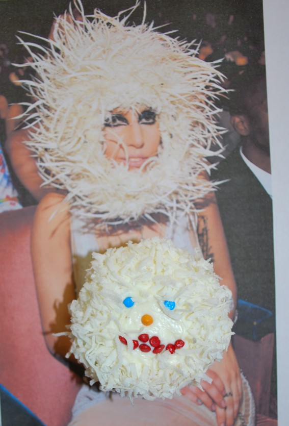 I was baking and half listening when I saw a camera shot of Lady Gaga in the